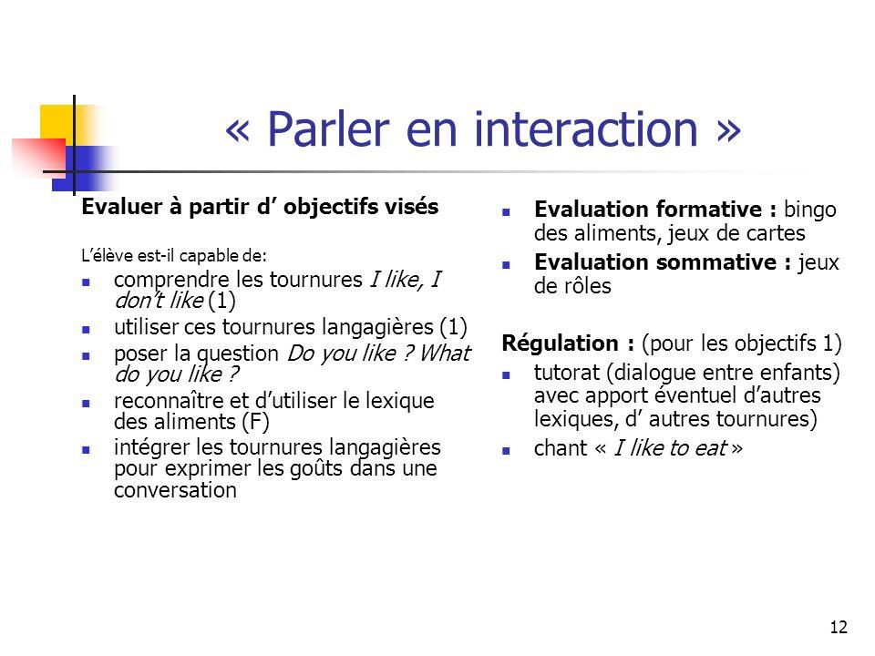 12 « Parler en interaction » Evaluer à partir d objectifs visés Lélève est-il capable de: comprendre les tournures I like, I dont like (1) utiliser ces tournures langagières (1) poser la question Do you like .