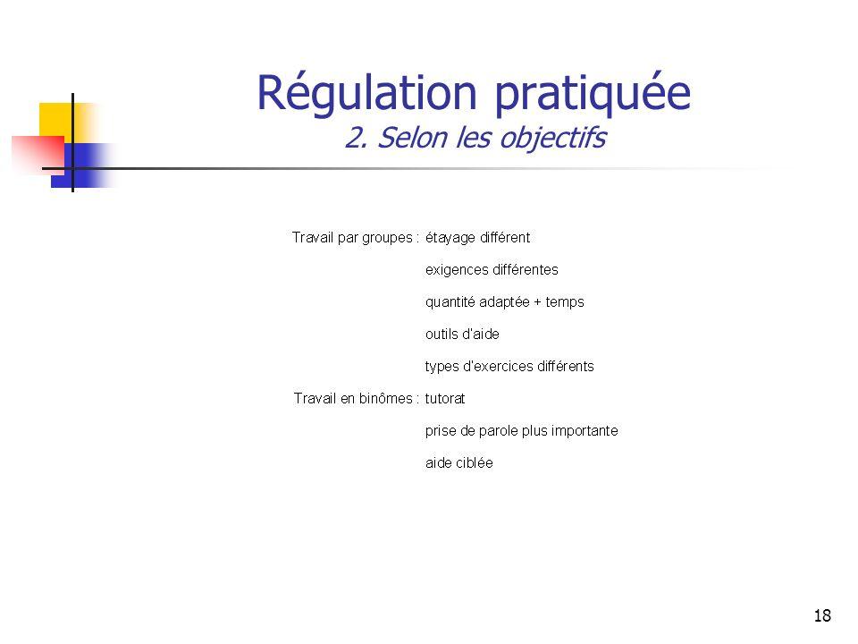 18 Régulation pratiquée 2. Selon les objectifs