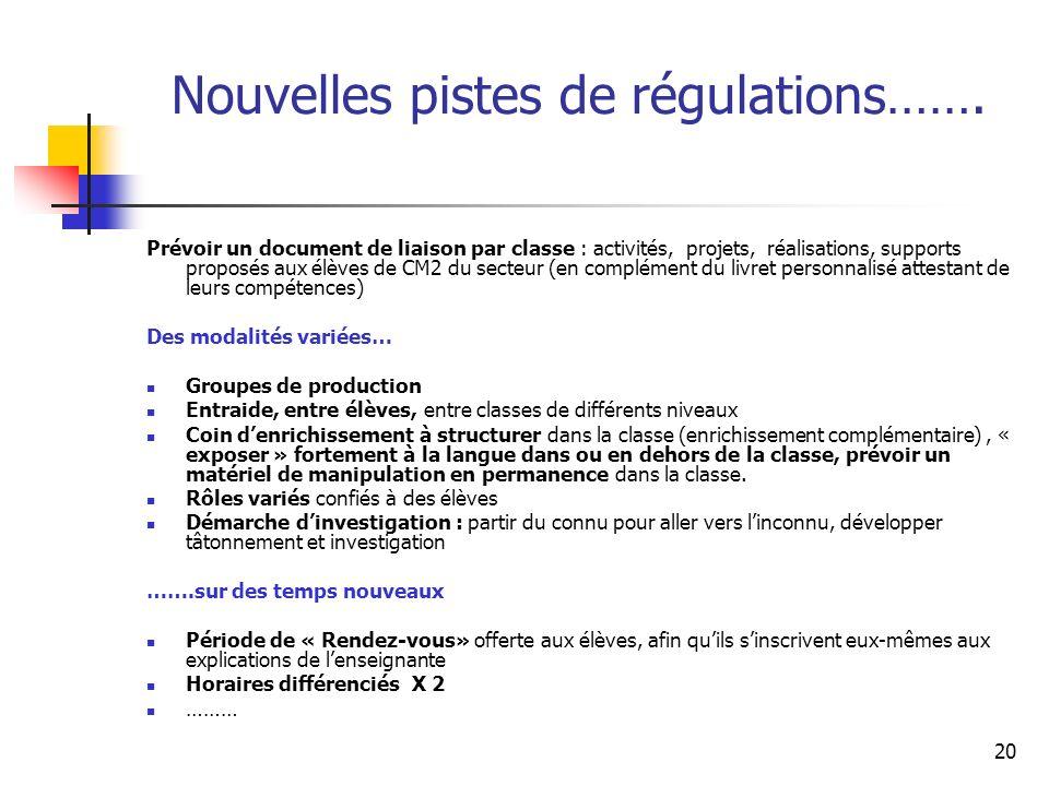 20 Nouvelles pistes de régulations…….