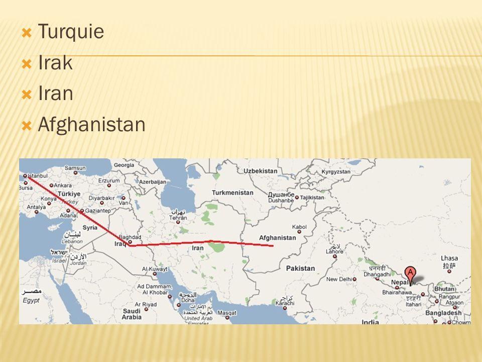 Turquie Irak Iran Afghanistan