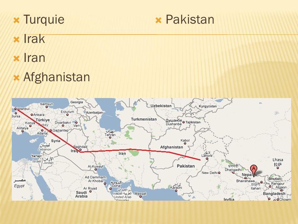 Turquie Irak Iran Afghanistan Pakistan