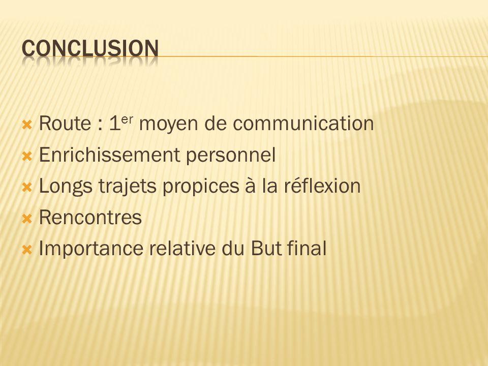 Route : 1 er moyen de communication Enrichissement personnel Longs trajets propices à la réflexion Rencontres Importance relative du But final