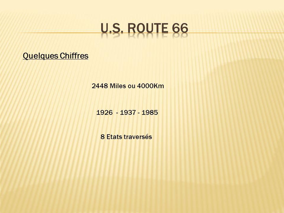 2448 Miles ou 4000Km 1926 - 1937 - 1985 8 Etats traversés Quelques Chiffres