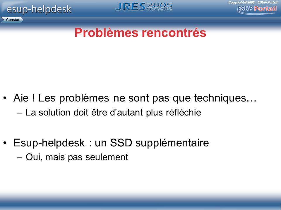 Copyright © 2005 – ESUP-Portail Problèmes rencontrés Aie ! Les problèmes ne sont pas que techniques… –La solution doit être dautant plus réfléchie Esu