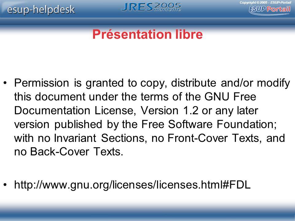 Copyright © 2005 – ESUP-Portail La route qui mène au SSD est longue… et la route est savonneuse .