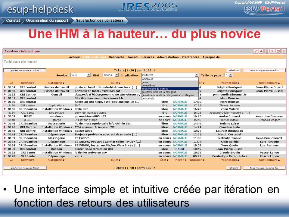Copyright © 2005 – ESUP-Portail Une IHM à la hauteur… du plus novice Une interface simple et intuitive créée par itération en fonction des retours des