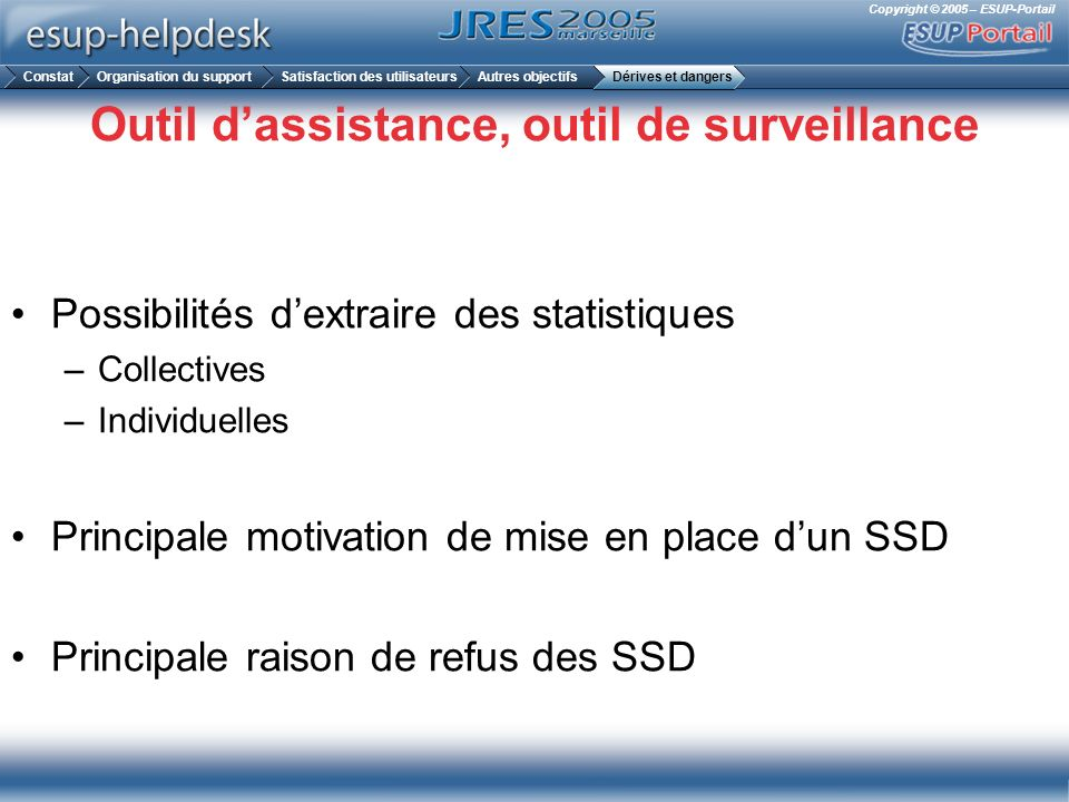 Copyright © 2005 – ESUP-Portail Outil dassistance, outil de surveillance Possibilités dextraire des statistiques –Collectives –Individuelles Principal
