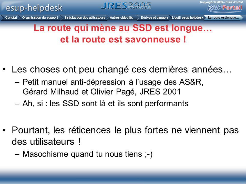 Copyright © 2005 – ESUP-Portail La route qui mène au SSD est longue… et la route est savonneuse ! Les choses ont peu changé ces dernières années… –Pet
