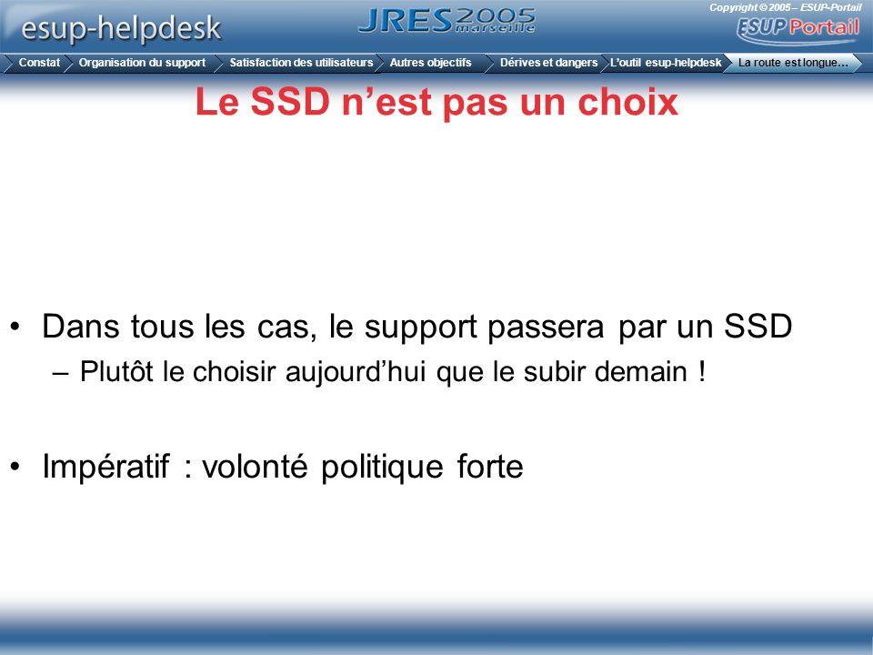 Copyright © 2005 – ESUP-Portail Le SSD nest pas un choix Dans tous les cas, le support passera par un SSD –Plutôt le choisir aujourdhui que le subir d