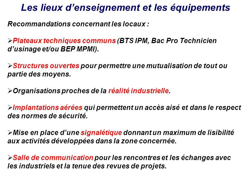 Les lieux denseignement et les équipements Recommandations concernant les locaux : Plateaux techniques communs (BTS IPM, Bac Pro Technicien dusinage e