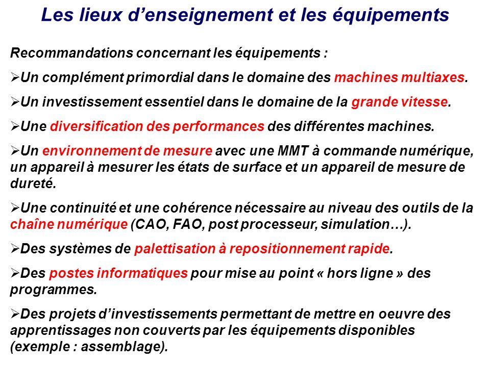 Les lieux denseignement et les équipements Recommandations concernant les équipements : Un complément primordial dans le domaine des machines multiaxe