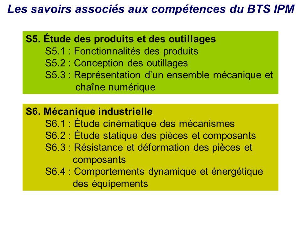 Les savoirs associés aux compétences du BTS IPM S5. Étude des produits et des outillages S5.1 : Fonctionnalités des produits S5.2 : Conception des out