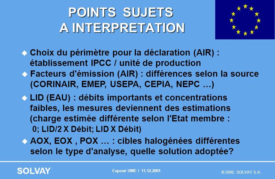 © 2000, SOLVAY S.A. SOLVAY POINTS SUJETS A INTERPRETATION Choix du périmètre pour la déclaration (AIR) : établissement IPCC / unité de production Fact