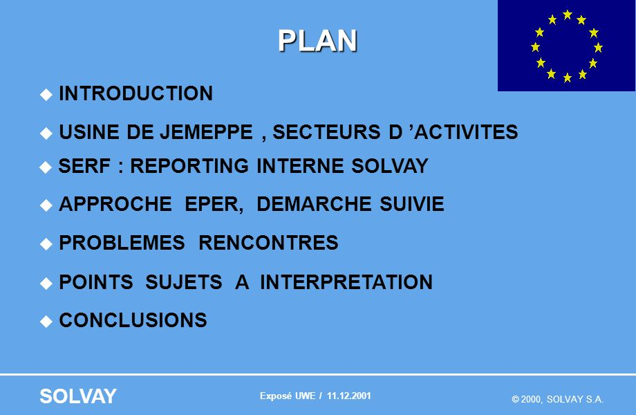 © 2000, SOLVAY S.A. SOLVAY PLAN INTRODUCTION USINE DE JEMEPPE, SECTEURS D ACTIVITES SERF : REPORTING INTERNE SOLVAY APPROCHE EPER, DEMARCHE SUIVIE PRO