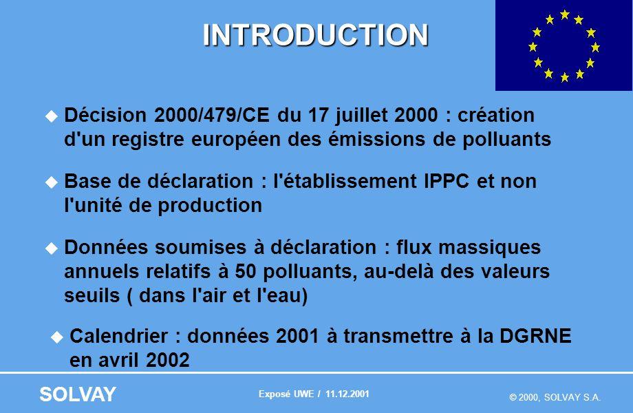 © 2000, SOLVAY S.A. SOLVAY INTRODUCTION Décision 2000/479/CE du 17 juillet 2000 : création d'un registre européen des émissions de polluants Base de d
