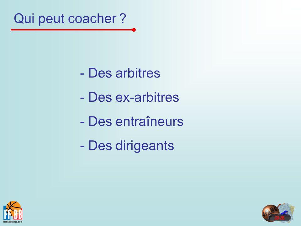 Qui peut coacher ? - Des arbitres - Des ex-arbitres - Des entraîneurs - Des dirigeants