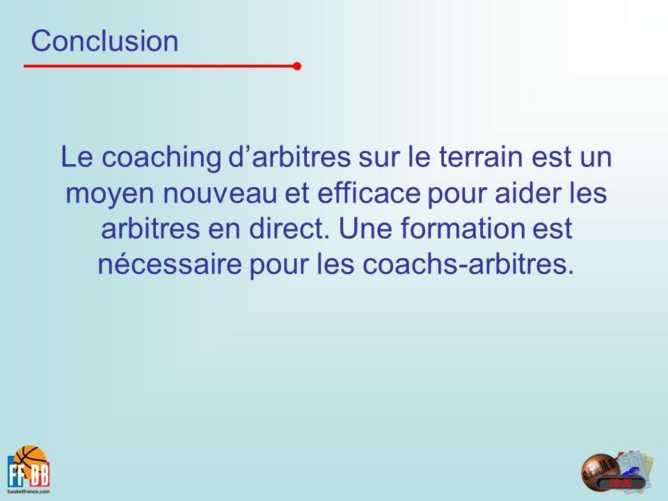 Conclusion Le coaching darbitres sur le terrain est un moyen nouveau et efficace pour aider les arbitres en direct. Une formation est nécessaire pour