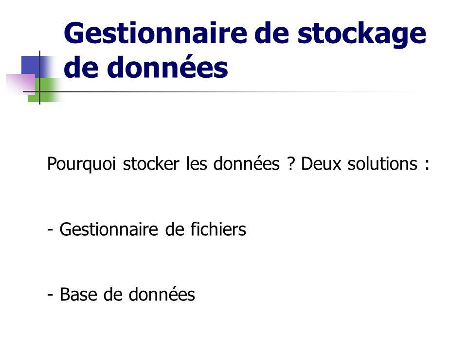 Gestionnaire de stockage de données Pourquoi stocker les données ? Deux solutions : - Gestionnaire de fichiers - Base de données