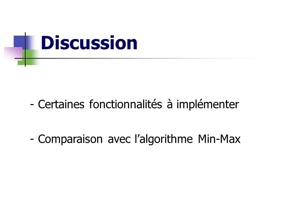 Discussion - Certaines fonctionnalités à implémenter - Comparaison avec lalgorithme Min-Max