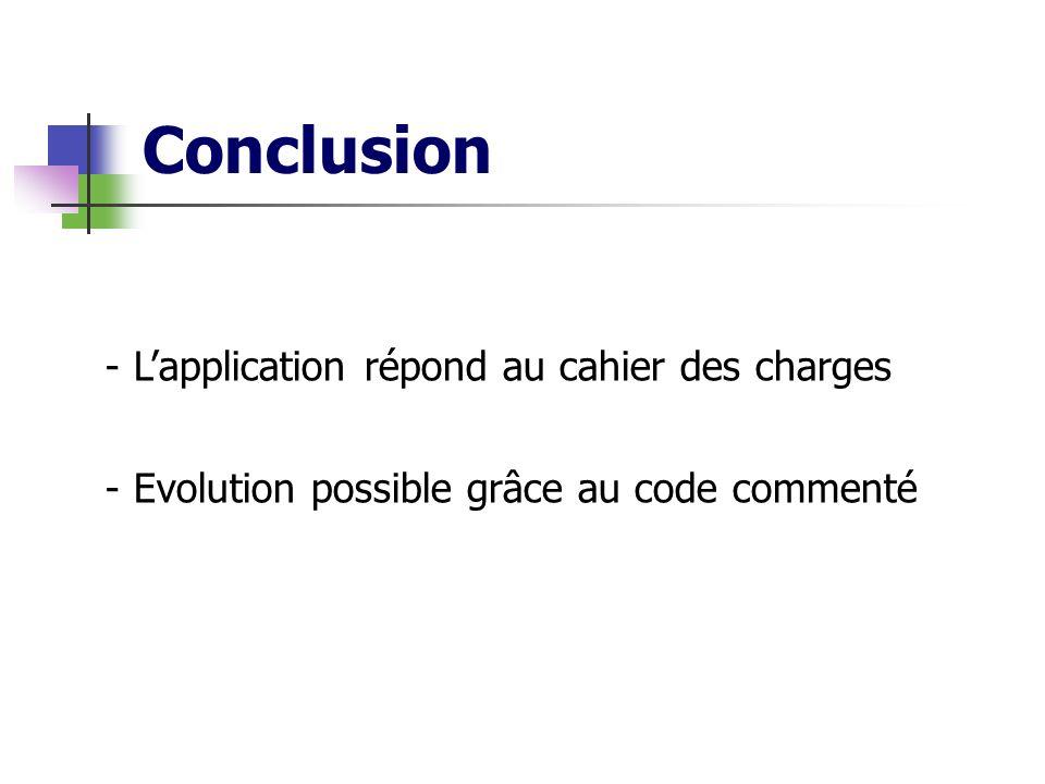 Conclusion - Lapplication répond au cahier des charges - Evolution possible grâce au code commenté