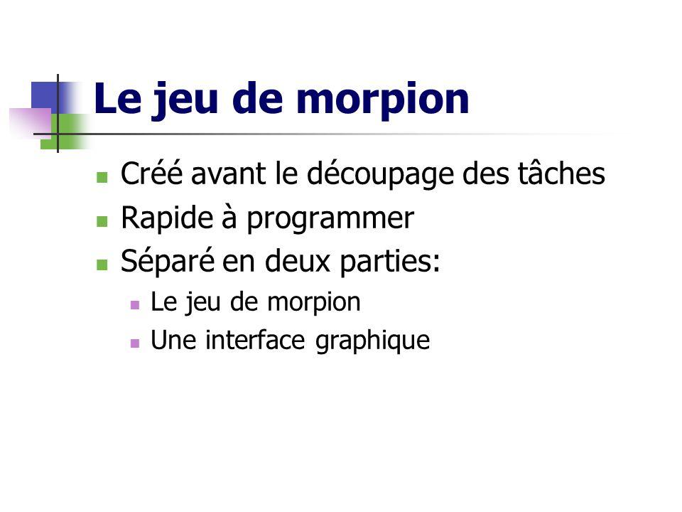 Le jeu de morpion Créé avant le découpage des tâches Rapide à programmer Séparé en deux parties: Le jeu de morpion Une interface graphique