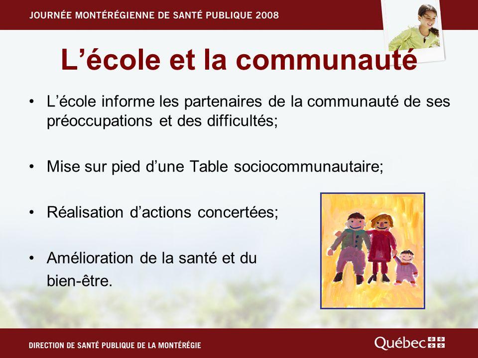 Lécole et la communauté Lécole informe les partenaires de la communauté de ses préoccupations et des difficultés; Mise sur pied dune Table sociocommun