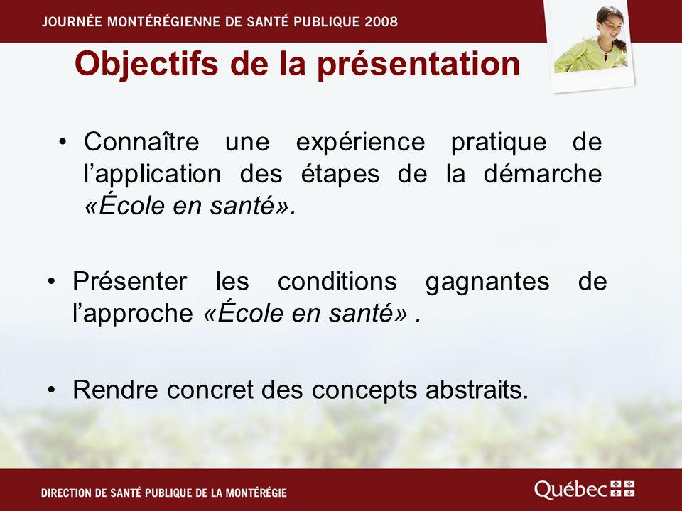 Objectifs de la présentation Connaître une expérience pratique de lapplication des étapes de la démarche «École en santé».