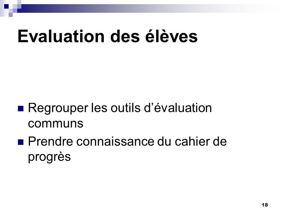 18 Evaluation des élèves Regrouper les outils dévaluation communs Prendre connaissance du cahier de progrès