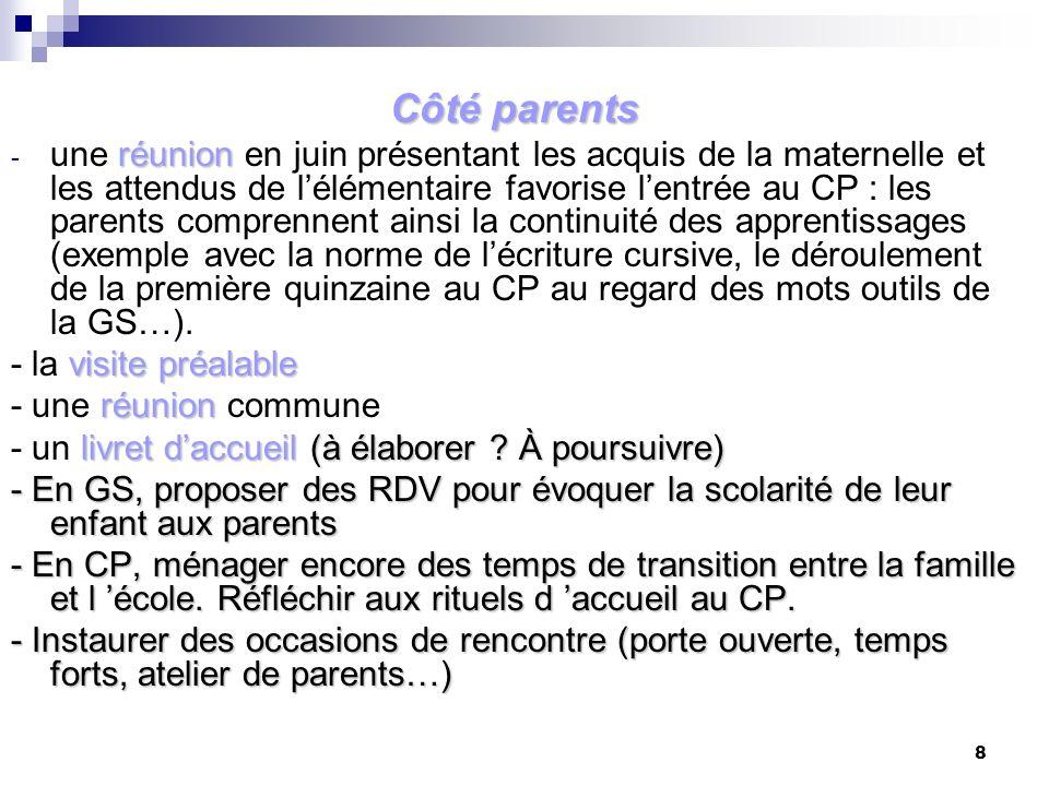 8 Côté parents réunion - une réunion en juin présentant les acquis de la maternelle et les attendus de lélémentaire favorise lentrée au CP : les paren