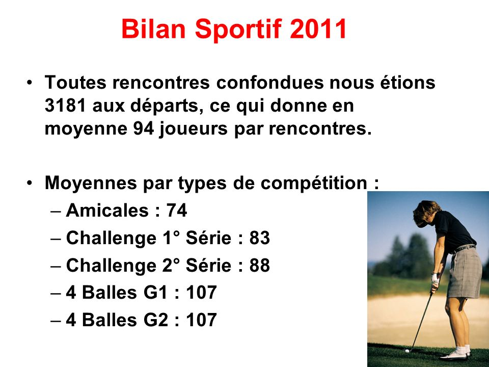 Bilan Sportif 2011 Toutes rencontres confondues nous étions 3181 aux départs, ce qui donne en moyenne 94 joueurs par rencontres. Moyennes par types de