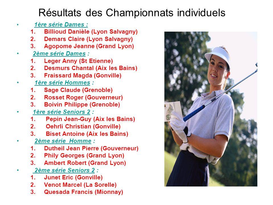 Résultats des Championnats individuels 1ère série Dames : 1.Billioud Danièle (Lyon Salvagny) 2.Demars Claire (Lyon Salvagny) 3.Agopome Jeanne (Grand L