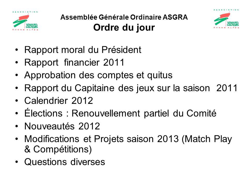 Assemblée Générale Ordinaire ASGRA Ordre du jour Rapport moral du Président Rapport financier 2011 Approbation des comptes et quitus Rapport du Capita