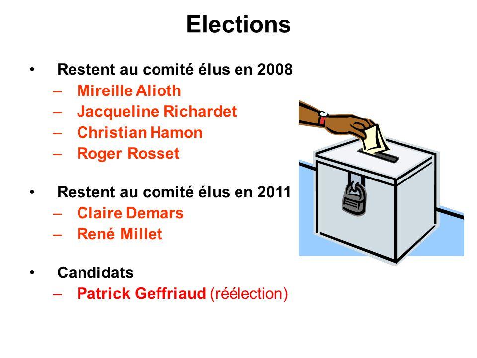 Elections Restent au comité élus en 2008 –Mireille Alioth –Jacqueline Richardet –Christian Hamon –Roger Rosset Restent au comité élus en 2011 –Claire