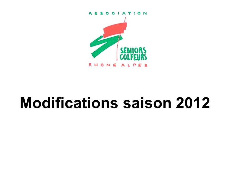 Modifications saison 2012