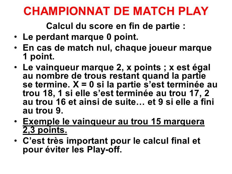 CHAMPIONNAT DE MATCH PLAY Calcul du score en fin de partie : Le perdant marque 0 point. En cas de match nul, chaque joueur marque 1 point. Le vainqueu