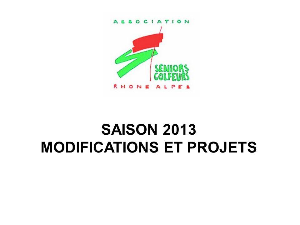 SAISON 2013 MODIFICATIONS ET PROJETS