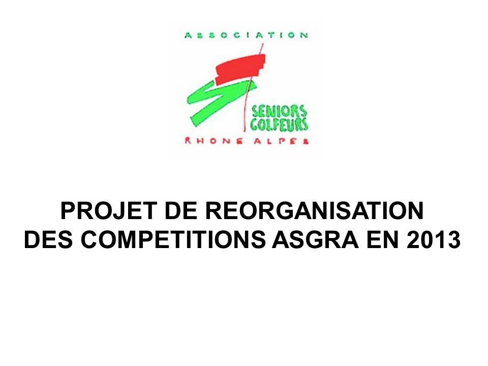 PROJET DE REORGANISATION DES COMPETITIONS ASGRA EN 2013