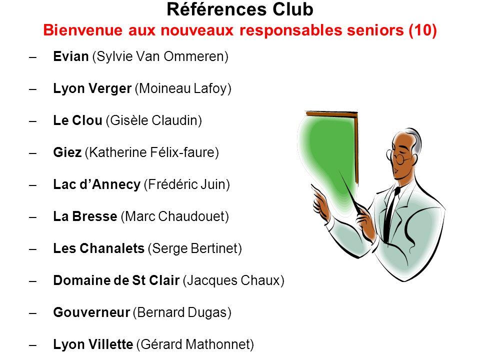 Références Club Bienvenue aux nouveaux responsables seniors (10) –Evian (Sylvie Van Ommeren) –Lyon Verger (Moineau Lafoy) –Le Clou (Gisèle Claudin) –G