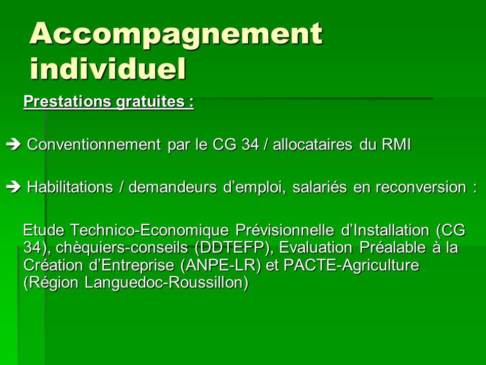 Accompagnement individuel Prestations gratuites : Conventionnement par le CG 34 / allocataires du RMI Conventionnement par le CG 34 / allocataires du