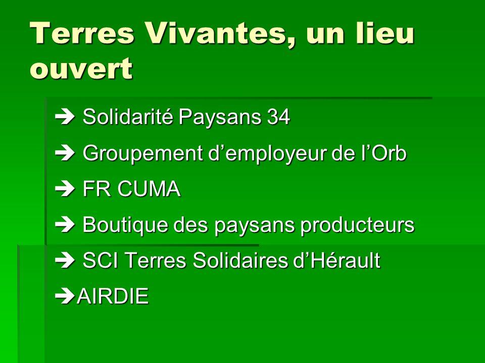 Terres Vivantes, un lieu ouvert Solidarité Paysans 34 Solidarité Paysans 34 Groupement demployeur de lOrb Groupement demployeur de lOrb FR CUMA FR CUM