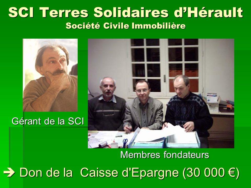 SCI Terres Solidaires dHérault Société Civile Immobilière Membres fondateurs Gérant de la SCI Don de la Caisse d'Epargne (30 000 ) Don de la Caisse d'