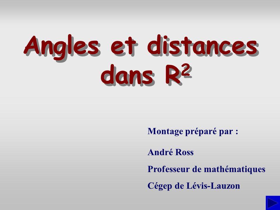 Introduction Dans cette présentation, nous verrons comment utiliser les vecteurs et le produit scalaire pour déterminer : langle entre deux droites, la distance dun point à une droite, le point dune droite le plus rapproché dun point hors de la droite.