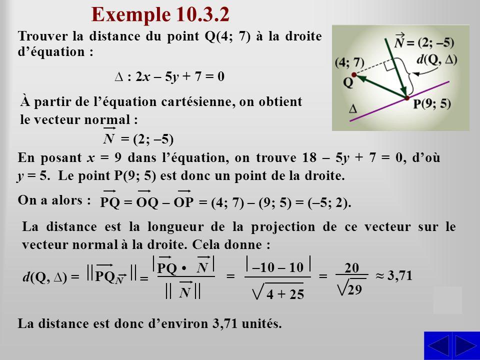 Exemple 10.3.2 Trouver la distance du point Q(4; 7) à la droite déquation : : 2x – 5y + 7 = 0 S d(Q, ) = La distance est donc denviron 3,71 unités. À