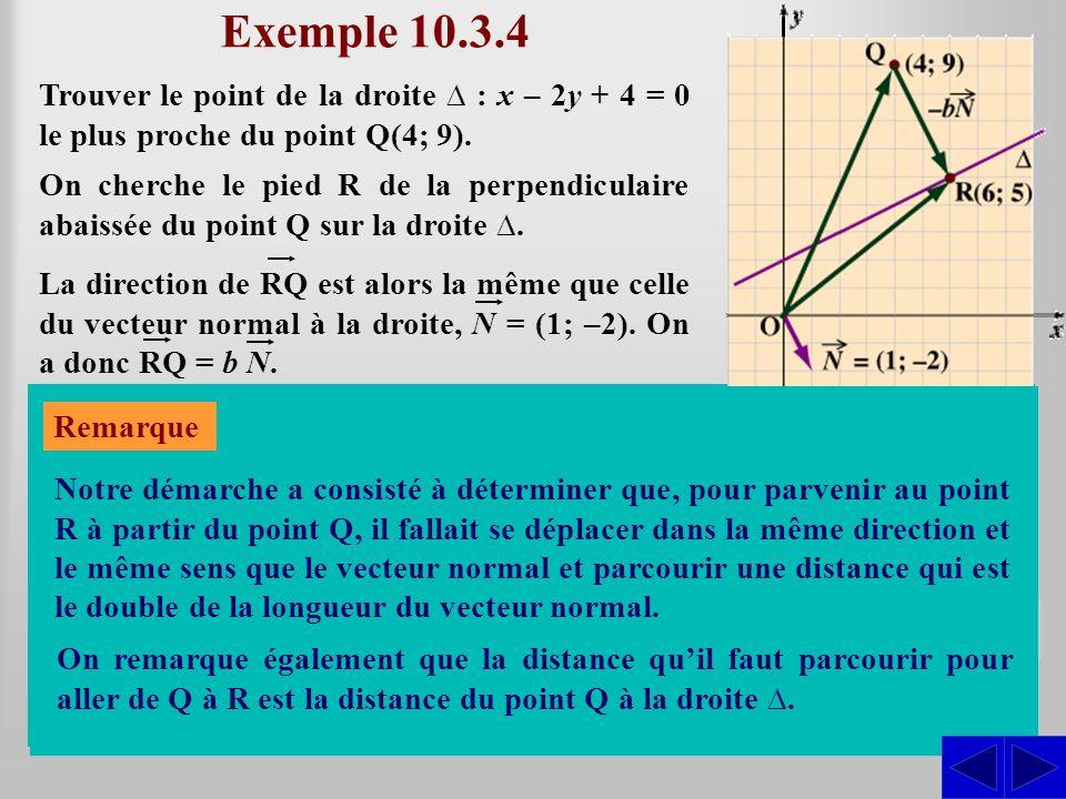 Exemple 10.3.4 Trouver le point de la droite : x – 2y + 4 = 0 le plus proche du point Q(4; 9). On cherche le pied R de la perpendiculaire abaissée du