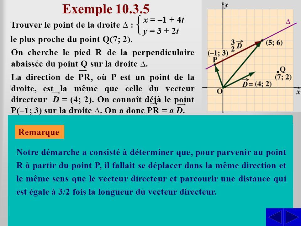 Exemple 10.3.5 Trouver le point de la droite : On cherche le pied R de la perpendiculaire abaissée du point Q sur la droite. En déterminant la valeur