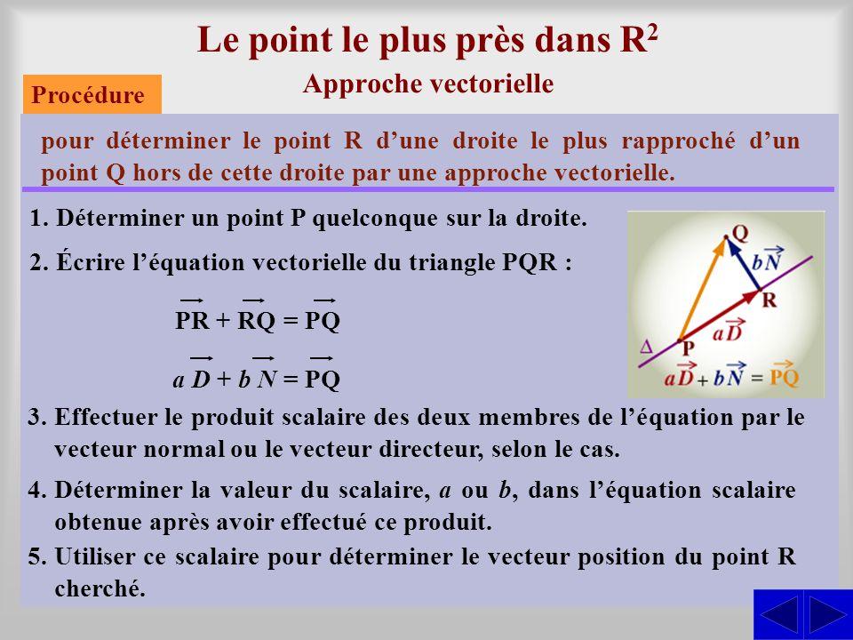 Le point le plus près dans R 2 Approche vectorielle pour déterminer le point R dune droite le plus rapproché dun point Q hors de cette droite par une