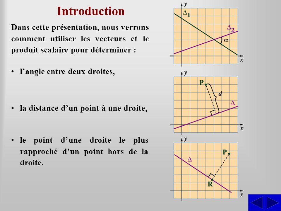 Introduction Dans cette présentation, nous verrons comment utiliser les vecteurs et le produit scalaire pour déterminer : langle entre deux droites, l