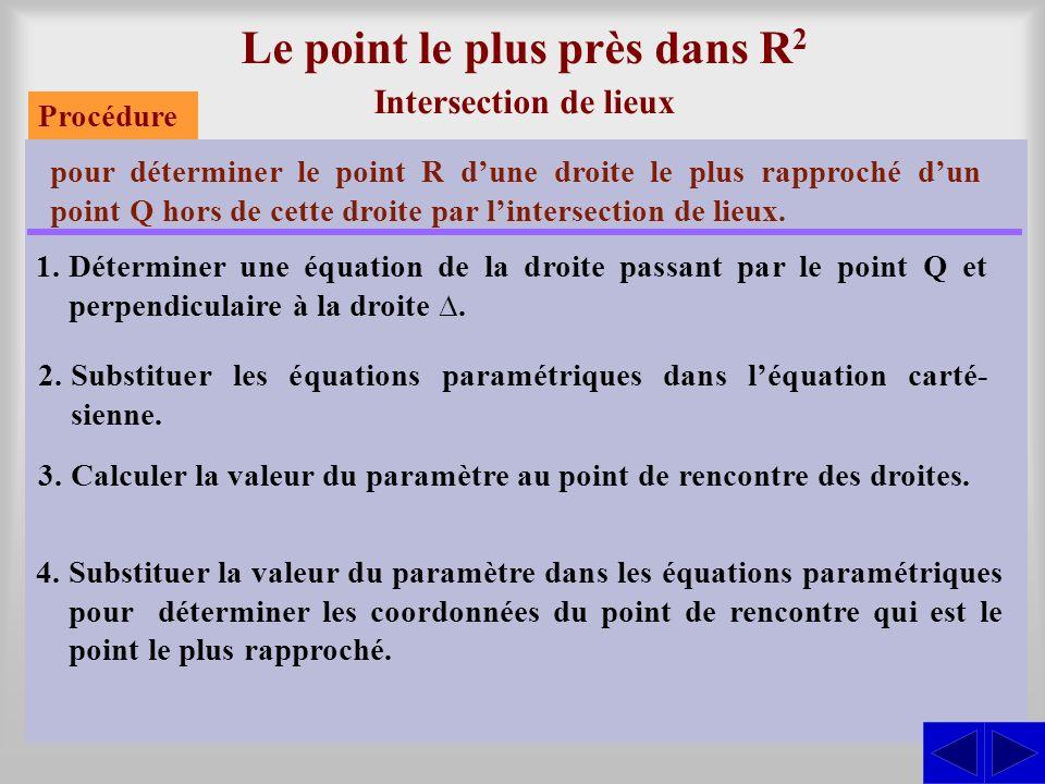 Le point le plus près dans R 2 Intersection de lieux pour déterminer le point R dune droite le plus rapproché dun point Q hors de cette droite par lin