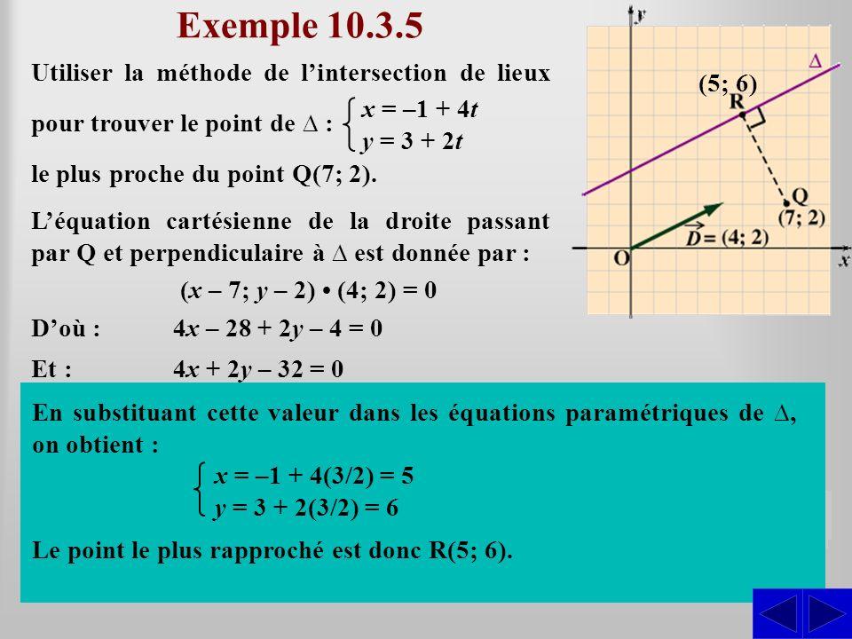 Exemple 10.3.5 Utiliser la méthode de lintersection de lieux pour trouver le point de : (x – 7; y – 2) (4; 2) = 0 le plus proche du point Q(7; 2). x =