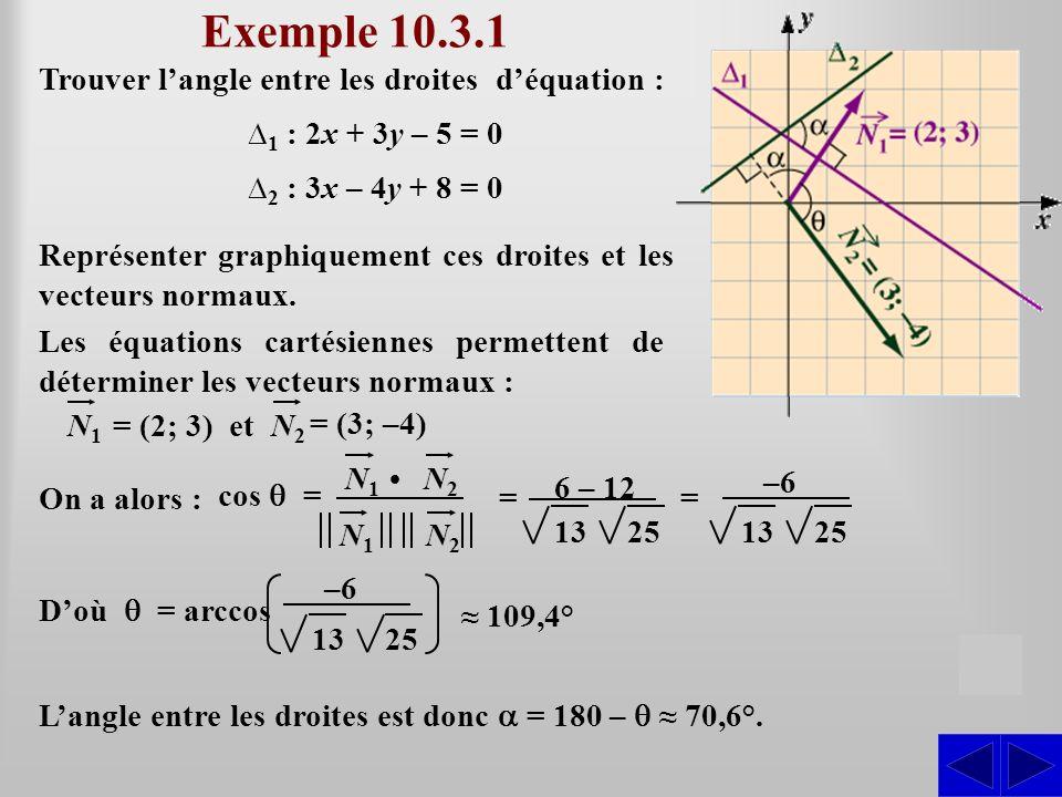 Exemple 10.3.1 Trouver langle entre les droites déquation : 1 : 2x + 3y – 5 = 0 2 : 3x – 4y + 8 = 0 S Représenter graphiquement ces droites et les vec